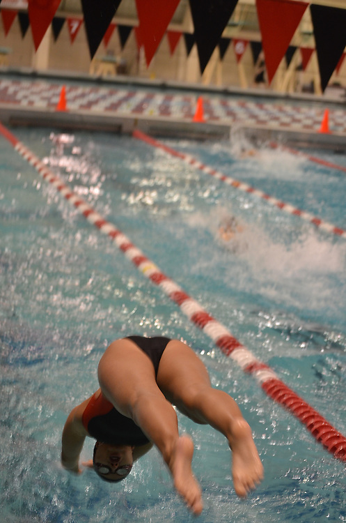 A diver for Erie Community College dives during the 500 mm relay in Buffalo, New York during the National Junior Swining Championship.