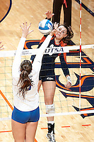 SAN ANTONIO, TX - NOVEMBER 17, 2013: The University of Tulsa Golden Hurricane versus the University of Texas at San Antonio Roadrunners Volleyball at the UTSA Convocation Center. (Photo by Jeff Huehn)