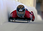 12 December 2006: Jeff Pain, from Canada, slides down a straightaway during a training run in preparation for the World Cup Skeleton Competition at the Olympic Sports Complex on Mount Van Hoevenburg  in Lake Placid, New York, USA.&amp;#xA;&amp;#xA;Mandatory Photo credit: Ed Wolfstein Photo<br />
