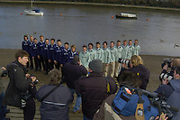 PUTNEY, LONDON, ENGLAND, 06.03.2006, 2006 Presidents Challenge and Boat Race Crew announcement   © Peter Spurrier/Intersport-images.com..CUBC, Bow Luke Walton, No. 2 Tom Edwards, No.3 Sebastian Thormann, No 4. Thorsten Englemann, No.5 Sebastian Schulte, No.6 Kieran West, No.7 Tom James, stroke Kip McDaniel and cox Peter Rudge...OUBC, Bow Robin Esjmond-Frey, No.2 Colin Smith, No.3 Jake Wetzel, No.4 Paul Daniels, No.5 James Schroeder. No.6 Barney Williams, No. 7 Tom Parker, stroke Bastien Ripoll, and cox Nick Brodie,..[Mandatory Credit Peter Spurrier/ Intersport Images] Varsity Boat Race, Rowing Course: River Thames, Championship course, Putney to Mortlake 4.25 Miles