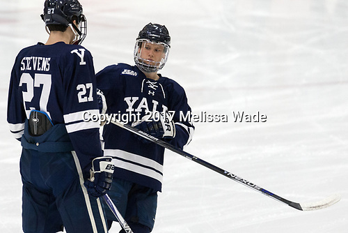 Luke Stevens (Yale - 27), Joe Snively (Yale - 7) - The Harvard University Crimson defeated the Yale University Bulldogs 6-4 in the opening game of their ECAC quarterfinal series on Friday, March 10, 2017, at Bright-Landry Hockey Center in Boston, Massachusetts.