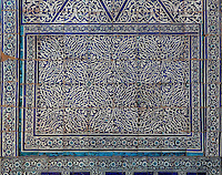 Detail of ceramics on the main wall, Kurinish Khana or Throne Room, 1804-06, Kukhna Ark, Khiva, Uzbekistan, pictured on July 6, 2010, in the afternoon. The Kukhna Ark is the original home of the Khans. Although its foundations are 5th century, most of the complex is 19th century. Khiva, ancient and remote, is the most intact Silk Road city. Ichan Kala, its old town, was the first site in Uzbekistan to become a World Heritage Site(1991). Picture by Manuel Cohen.