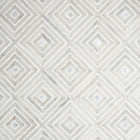 Bryce, a hand-cut stone mosaic, shown in honed Afyon White, tumbled Thassos and Shell. Designed by Sara Baldwin Designs for New Ravenna.