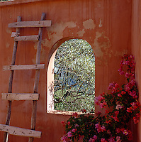 A rustic ladder is propped up against a terracotta painted wall on the terrace of the poolhouse