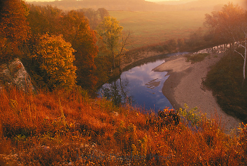 View from top of bluffs at sunset  in fall along Cedar Creek in Boone County Missouri