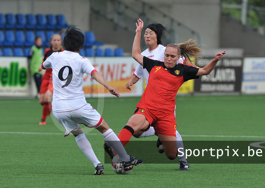 Belgium A - North Korea friendly game at Koksijde KVV Stadium - Belgie - Noord Korea : Janice Cayman aan de bal.foto David Catry / Joke Vuylsteke / Vrouwenteam.be