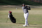 KANNAPOLIS, NC - APRIL 09: South Carolina's Ryan Stachler hits an approach shot on the 10th hole. The third round of the Irish Creek Intercollegiate Men's Golf Tournament was held on April 9, 2017, at the The Club at Irish Creek in Kannapolis, NC.