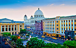 Plaza Morazan in San Salvador, El Salvador.  The National Theater and Main Cathedral are two architectural treasures of the capital city.