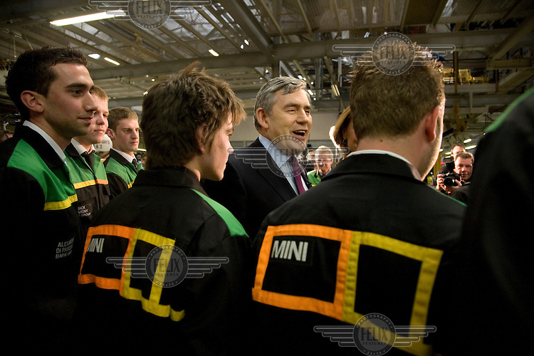 Prime Minister and Labour Party leader Gordon Brown meeting workers at an election campaign stop at the BMW Mini car plant in Oxford.