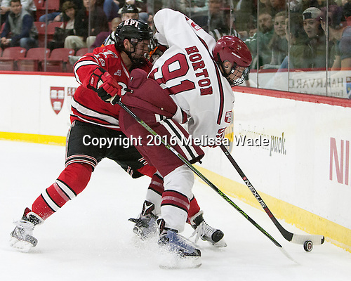 Mike Prapavessis (RPI - 19), Jake Horton (Harvard - 91) - The Harvard University Crimson defeated the visiting Rensselaer Polytechnic Institute Engineers 5-2 in game 1 of their ECAC quarterfinal series on Friday, March 11, 2016, at Bright-Landry Hockey Center in Boston, Massachusetts.