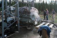 Jade Cutting on Site, Northern BC, British Columbia, Canada