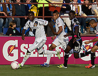 Edson Buddle of Galaxy dribbles the ball during the game against Earthquakes at Buck Shaw Stadium in Santa Clara, California on October 21st, 2012.  San Jose Earthquakes and Los Angeles Galaxy tied at 2-2.