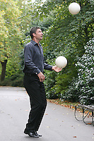 18/10/2010. Niall and Gillian Quinn launch prostate cancer awareness. Niall Quinn is pictured in St Stephen's Green Dublin having a kick-around and shout the prostate cancer awareness message to show their support for this important healthcare campaign. What You Don't Knowa Public Awareness Campaignby the Mater Private, which aims toeducate on the symptoms and treatment of prostate cancer and promote early diagnosis of the disease. InIreland, prostate cancer is the second most common cancer in men, after skin cancer, and 1 in 12 Irish men will be diagnosed with prostate cancer during their lifetime and 1 in 34 men will die from the disease. Picture James Horan/Collins Photos