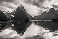 Milford Sound with Mitre Peak with morning dramatic skies, Fiordland National Park, Southland, World Heritage Area, New Zealand