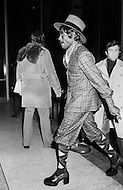 Manhattan, New York CIty, NY. January 23rd, 1974.<br /> Just before the beginning of the second match between Ali and Frazier, spectators exhibit thier eccentric clothes in a sort of a pre-match fashion show.