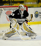 29 December 2007: Western Michigan University Broncos' goaltender Jerry Kuhn, a Freshman from Southgate, MI, warms up prior to a game against the Quinnipiac University Bobcats at Gutterson Fieldhouse in Burlington, Vermont. The Bobcats defeated the Broncos 2-1 in the first game of the Sheraton/TD Banknorth Catamount Cup Tournament...Mandatory Photo Credit: Ed Wolfstein Photo