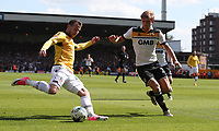 Bolton Wanderers' Adam Le Fondre has this cross blocked by Port Vale's Nathan Smith<br /> <br /> Photographer Stephen White/CameraSport<br /> <br /> The EFL Sky Bet League One - Port Vale v Bolton Wanderers  - Saturday 22nd April 2017 - Vale Park - Burslem<br /> <br /> World Copyright &copy; 2017 CameraSport. All rights reserved. 43 Linden Ave. Countesthorpe. Leicester. England. LE8 5PG - Tel: +44 (0) 116 277 4147 - admin@camerasport.com - www.camerasport.com