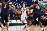 03 March 2016: Duke's Angela Salvadores (ESP) (3) is guarded by Virginia's Mikayla Venson (1) and Aliyah Huland El (23). The Duke University Blue Devils played the University of Virginia Cavaliers at the Greensboro Coliseum in Greensboro, North Carolina in the Atlantic Coast Conference Women's Basketball tournament and a 2015-16 NCAA Division I Women's Basketball game. Duke won the game 57-53.