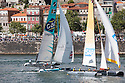 Act 4, Porto, Extreme Sailing Series. Day 03. Images showing GAC Pindar, skippered by Andrew Walsh (GBR), with tactician Nick Rogers (GBR), mainsail trimmer Mark Bulkeley (GBR), headsail trimmer Adam Piggot (GBR), and bowman Jonathan 'Jono' Macbeth (GBR). . Porto, Portugal. ..Credit: Lloyd Images