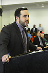 Feb. 25, 2013 - Mineola, New York, U.S. - GREGORY MAY, legislative liason for Nassau County Supervisor Mangano, responds to questions from legislators, during meeting that had major topic of the controversial Redistricting Map proposed by Republicans. The legislature postponed the vote on the map shortly before 1 AM the morning of February 26, nearly 12 hours after the meeting started on 1:30 PM Feb. 25.