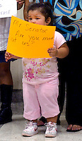TALLAHASSEE, FL. 5/3/07-Jennifer Rivas, age 3 of Quincy stands vigil outside the Senate chamber urging them to take up the KidCare bill, Thursday during a news conference at the Capitol in Tallahassee. COLIN HACKLEY PHOTO