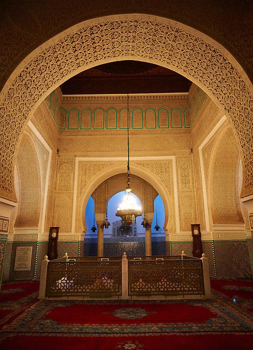 Mauseleum of Moulay Ismaïl Ibn Sharif , reigned 1672–1727. A UNESCO World Heritage Site .Meknes, Meknes-Tafilalet, Morocco.