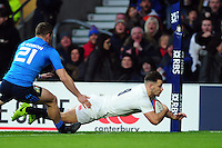 Danny Care of England dives for the try-line. RBS Six Nations match between England and Italy on February 26, 2017 at Twickenham Stadium in London, England. Photo by: Patrick Khachfe / Onside Images