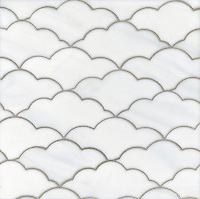 Clouds, a waterjet glass mosaic shown in Moonstone, is part of the Erin Adams Collection for New Ravenna Mosaics.<br />