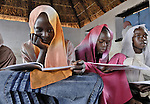Girls in class in the Dereig Camp for internally displaced persons.