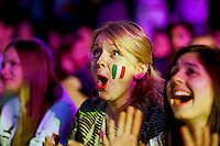 Moscow, Russia, 01/07/2012..Italian supporters react to an Italian attack in the Euro 2012 Fan Zone in Gorky Park, as Spain beat Italy 4-0 in the final of the soccer championship.