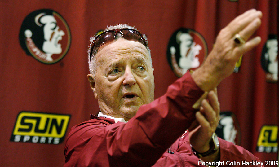 TALLAHASSEE, FL 9/7/09-FSU-MIAMIFB09 CH57-Florida State Head Coach Bobby Bowden talks about the loss to Miami, Monday at Doak Campbell Stadium in Tallahassee. The Seminoles lost to the Hurricanes 38-34...COLIN HACKLEY PHOTO