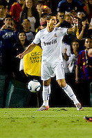 Cristiano Ronaldo of Real Madrid has a few words for the referee. Real Madrid beat the LA Galaxy 3-2 in an international friendly match at the Rose Bowl in Pasadena, California on Saturday evening August 7, 2010.