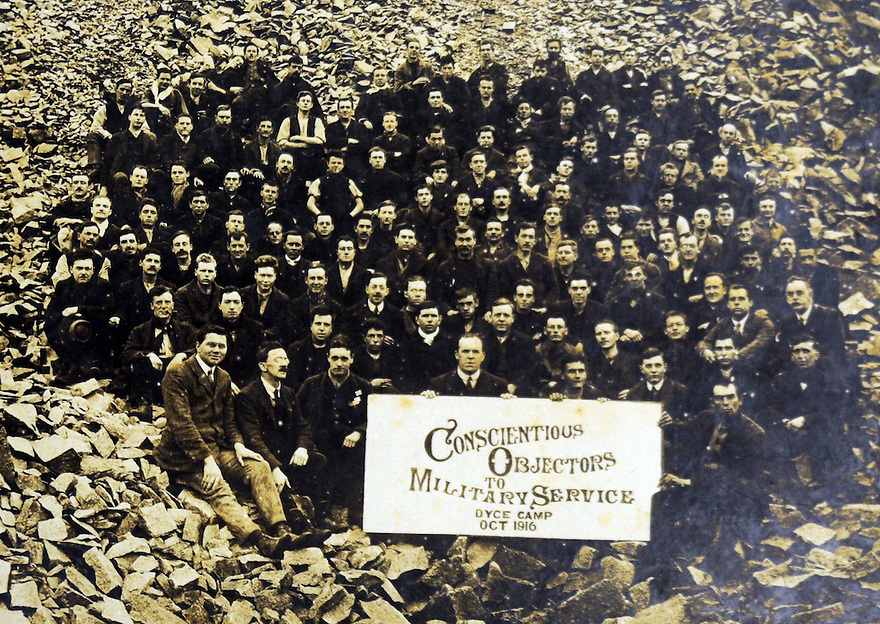 MARTEN WW1 CASE STUDY. CONSCIENTIOUS OBJECTORS IN THE DYCE QUARRY WHERE THEY WERE SENT TO SERVE A SENTENCE OF HARD LABOUR.