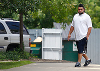 PITTSBURGH - JULY 26:  A day after the NFL lockout ended, Chris Kemoeatu #68 of the Pittsburgh Steelers reports to the South Side training facility on July 26, 2011 in Pittsburgh, Pennsylvania.  (Photo by Jared Wickerham/Getty Images)