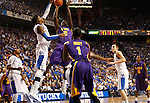 UK forward Nerlens Noel blocks a shot by LSU forward Johnny O'Bryant III during the first half of the men's basketball game vs. LSU at Rupp Arena, in Lexington, Ky., on Saturday, January 26, 2013. Photo by Genevieve Adams  | Staff.