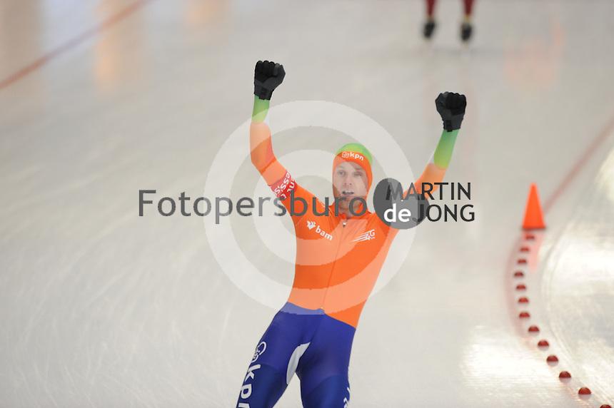 SCHAATSEN: INZELL: Max Eicher Arena, 10-02-2013, Essent ISU World Cup, Season 2012-2013, Mass Start Men, A-division, winnaar Arjan Stroetinga (NED), ©foto Martin de Jong