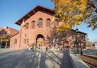 Students in front of the Royall Tyler Theatre, Fall UVM Campus