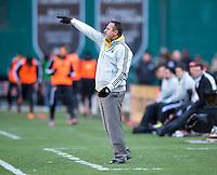 Columbus Crew head coach Robert Warzycha yells to his team during the game at RFK Stadium in Washington, DC.  Columbus Crew defeated D.C. United, 2-1.