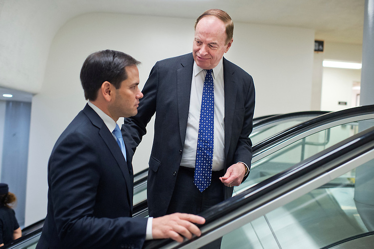 UNITED STATES - APRIL 19: Sens. Richard Shelby, R-Ala., right, and Marco Rubio, R-Fla., make their way through the subway before the Senate Policy luncheons in the Capitol, April 19, 2016. (Photo By Tom Williams/CQ Roll Call)