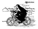 (A nun rides a mountain bike with the brand name 'Climb Every Mountain Bike')