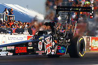 Sep 27, 2013; Madison, IL, USA; NHRA top fuel dragster driver Scott Palmer during qualifying for the Midwest Nationals at Gateway Motorsports Park. Mandatory Credit: Mark J. Rebilas-