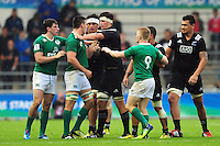 Tempers flare between both sides. World Rugby U20 Championship match between New Zealand U20 and Ireland U20 on June 11, 2016 at the Manchester City Academy Stadium in Manchester, England. Photo by: Patrick Khachfe / Onside Images