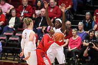 STANFORD, CA - February 16, 2014: Stanford Cardinal's Mikaela Ruef and Chiney Ogwumike during Stanford's 74-48 victory over Arizona at Maples Pavilion.