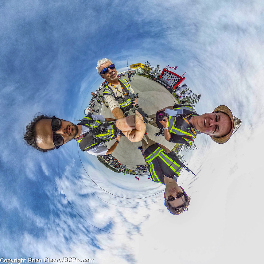 Four photographers and in the paddock at Canadian Tire Motorsports Park, May 2016. 360 degree Little Planet photo, taken with Ricoh Theta S camera.  (Photo by Brian Cleary/ www.bcpix.com )