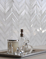 Raj, a natural stone mosaic shown in Thassos and polished Calacatta Tia, is part of the Silk Road Collection by Sara Baldwin for New Ravenna Mosaics. Take the next step: prices, samples and design help, http://www.newravenna.com/showrooms/