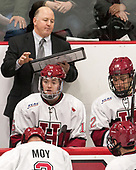 Ted Donato (Harvard - Head Coach), Ryan Donato (Harvard - 16), Devin Tringale (Harvard - 22) - The Harvard University Crimson tied the visiting Yale University Bulldogs 1-1 on Saturday, January 21, 2017, at the Bright-Landry Hockey Center in Boston, Massachusetts.