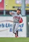 20 August 2015: Tri-City ValleyCats infielder Antonio Nunez makes a throw for an out in the first inning against the Vermont Lake Monsters at Centennial Field in Burlington, Vermont. The Stedler Division-leading ValleyCats defeated the Lake Monsters 5-2 in NY Penn League action. Mandatory Credit: Ed Wolfstein Photo *** RAW Image File Available ****