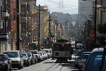 cable car and Bay Bridge