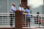 19 August 2016: UNC head coach Anson Dorrance (second from left) watches the game with assistant coach Bill Palladino (left) and guests. The Duke University Blue Devils played the Wofford College Terriers in a 2016 NCAA Division I Women's Soccer match. Duke won the game 9-1.