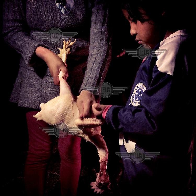 Brigitte helps pluck feathers from a chicken as members of the Achance family arrive from Riobamba to celebrate her birthday and her brother's first communion.